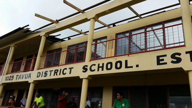 Fiji's Tavua District School shelters evacuees once again despite its gaping roof.