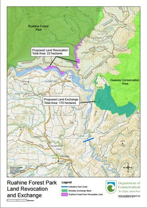 A DOC image showing the land to be exchanged to make way for the Ruataniwha Dam in Hawke's Bay.