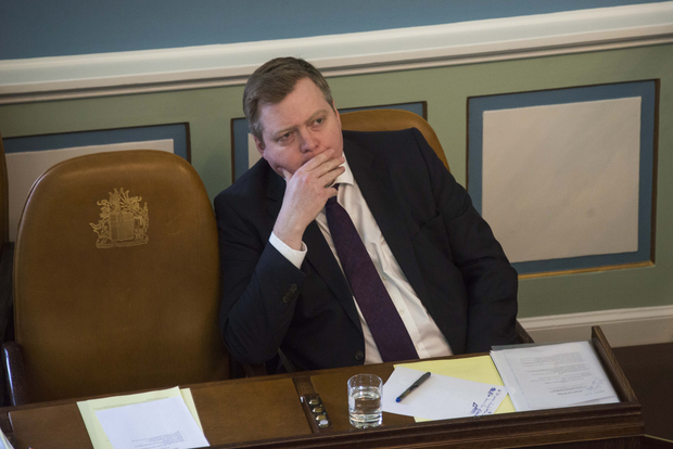 Iceland's Prime Minister Sigmundur David Gunnlaugsson attends a session of parliament in Reykjavik, Iceland on April 4, 2016.