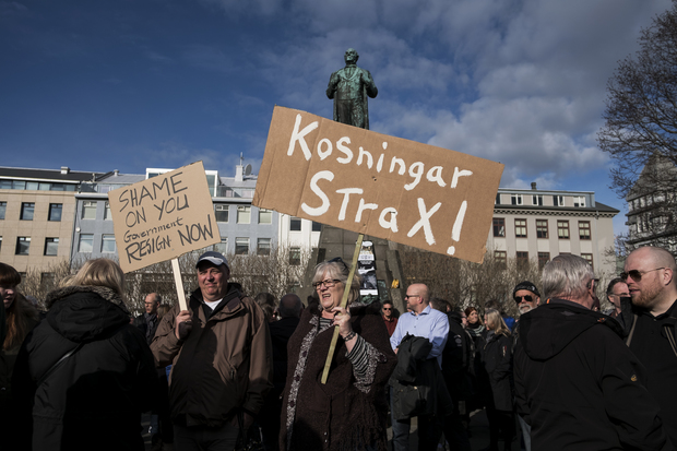 Protesters outside Iceland's parliament, Alltinget, in Reykjavik on Monday April 4, 2016.