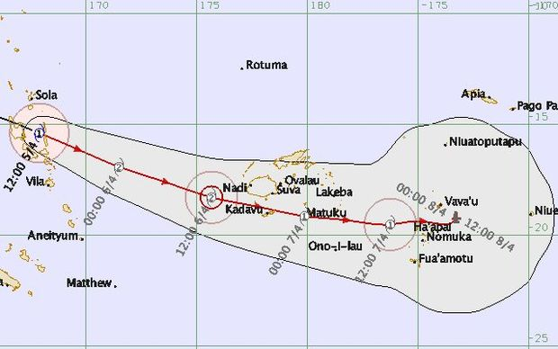 Cyclone Zena forecast map.