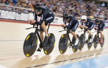 Marc Ryan leads the team pursuit at the 2016 UCI Track Cycling World Championships in London.