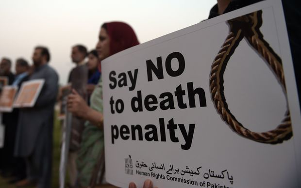 Protestors at a demonstration against the death penalty in Islamabad in October.