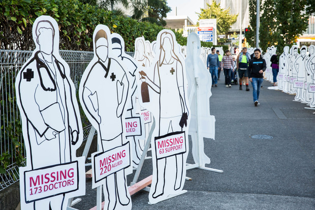 Cardboard cut-outs outside Auckland City Hospital to highlight understaffing in hospitals