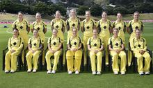 The Southern Stars team that played the White Ferns earlier this year.