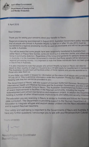 A letter from the Australian government replying to a protest letter from refugees on Nauru.