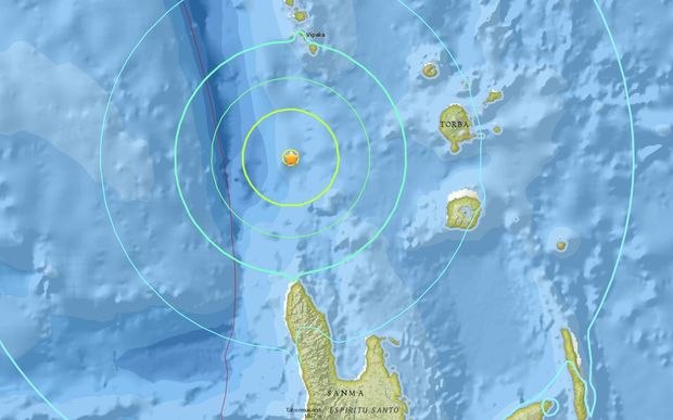 The epicentre of Thursday's 6.7 magnitude earthquake in Vanuatu's Torba province.