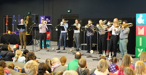Trombone octet Aucktet performing