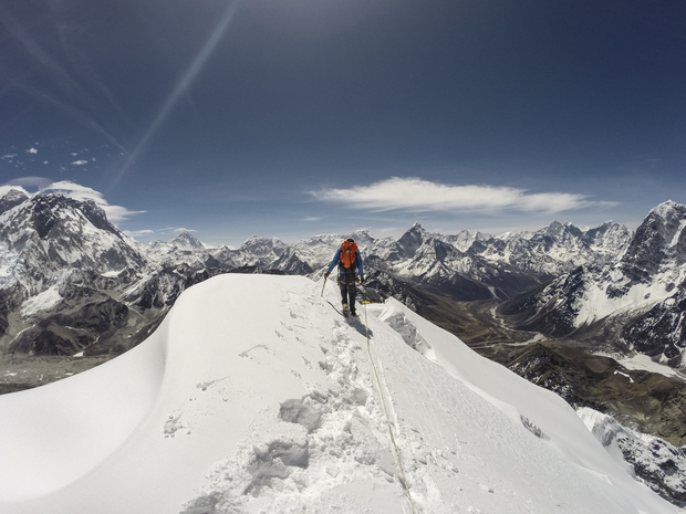 Sherpa climbing on Everest