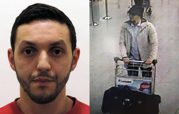"Mohamed Abrini, left, is thought to be the ""man in the hat"" seen at Brussels Airport prior to the attacks there."