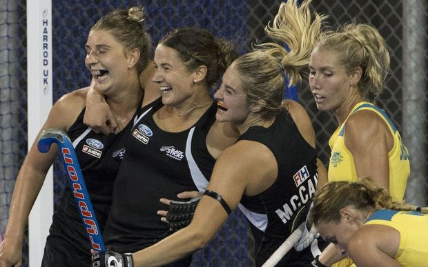 New Zealand's Pippa Hayward celebrates her goal.