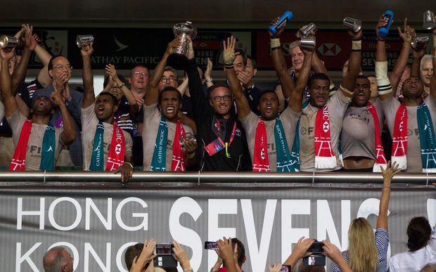Fiji celebrate winning the Hong Kong Sevens.