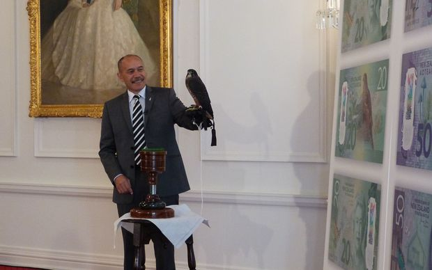 Governor-General Sir Jerry Mateparae poses with the native falcon karearea at the launch.