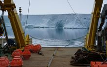 The NIWA mooring being deployed in Terra Nova Bay last December. The equipment is now at risk.
