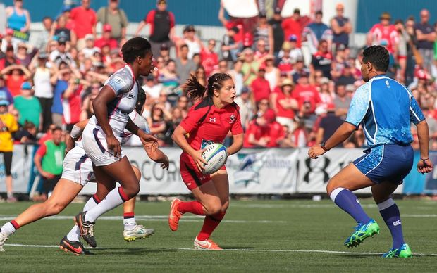 Fijian referee James Bolabiu in action on the Women's Sevens World Series.