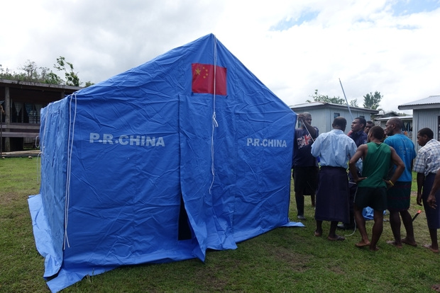 Tents donated by China were flown into villages in Fiji by the NZ Defence Force after Cyclone Winston. This one is in Nawaisomo village, Fiji.