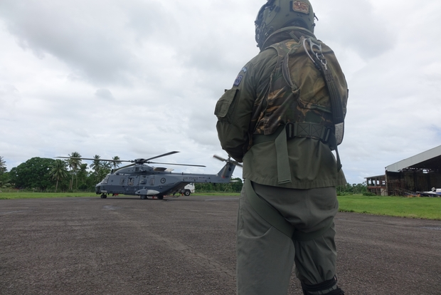 The NZDF NH90 refuels before another aid drop to remote villages in Fiji