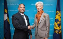Nauru's finance minister, David Adeang, and the head of the IMF, Christine Lagarde.