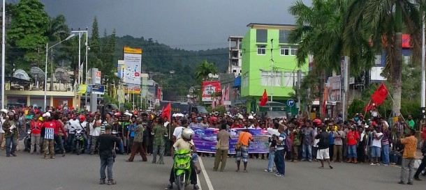 A demonstration in Jayapura, the capital of Indonesia's Papua province, in support of the United Liberation Movement for West Papua.