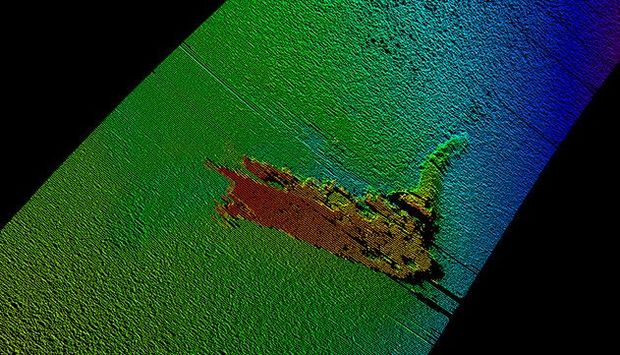 The Kongsberg survey uncovered the remains of the Loch Ness monster model (sonar image pictured) on the bottom of the Loch Ness, 180 metres down.