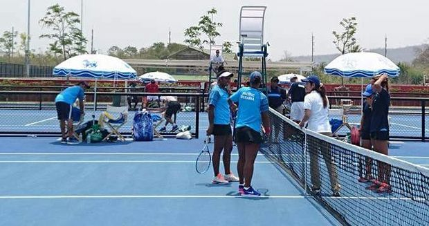 Abigail Tere-Apisah and Steffi Carruthers lost their doubles match against the Philippines.