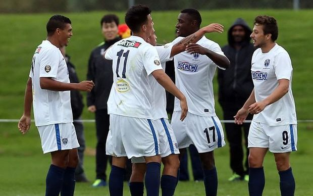 Joao Moreira (17) is congratulated after scoring a late winner for Auckland City against Lae City Dwellers.