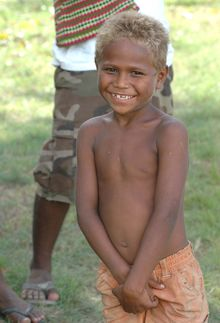 A blonde boy in the Solomon Islands carrying the newly discovered blonde gene