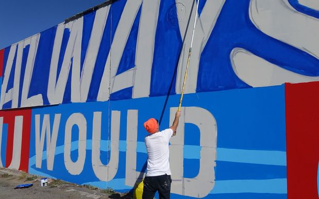 The mural takes shape in central Christchurch.