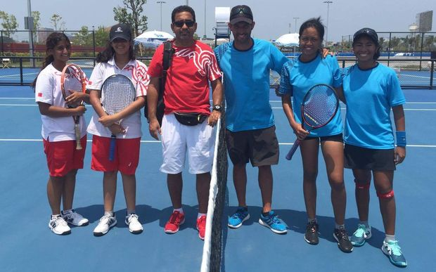 The Pacific Oceania and Bahrain Fed Cup teams.
