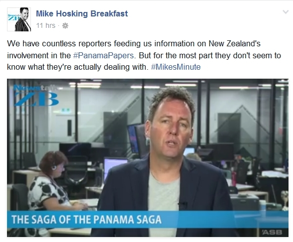 screenshot of Mike Hosking opinion piece.