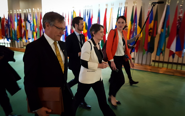 Helen Clark leaving the UN in a hurry to catch a train to D.C.