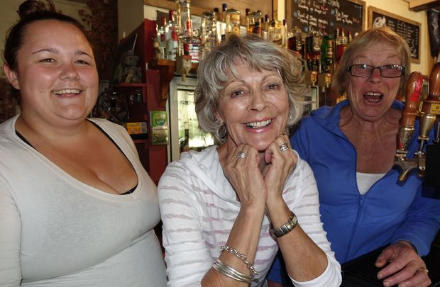 Savannah Smart, left, Dreana Bowman centre and Jacqui Ludlow of the Belgrove Tavern near the Spooners Tunnel,