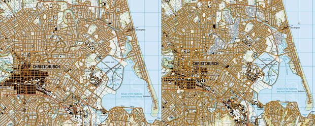 In the pre- earthquake map the central business district is a large black shaded area. In the post- earthquake there is only scattered black in the CBD and the ghostly remains of houses and roads in the red zone along the Avon River