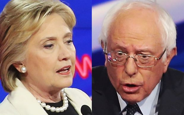 United States democratic presidential contenders Hillary Clinton and Bernie Sanders