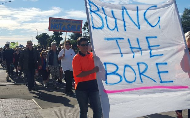Hundreds protested the sale of water rights in Ashburton today.