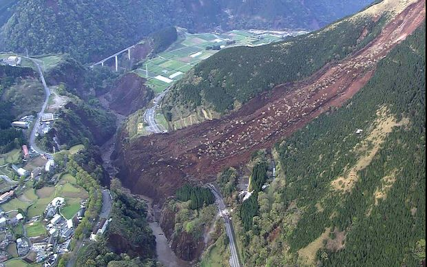 An aerial view of a landslide in Mimami-Aso, Kumamoto prefecture in Japan, following another serious earthquake.