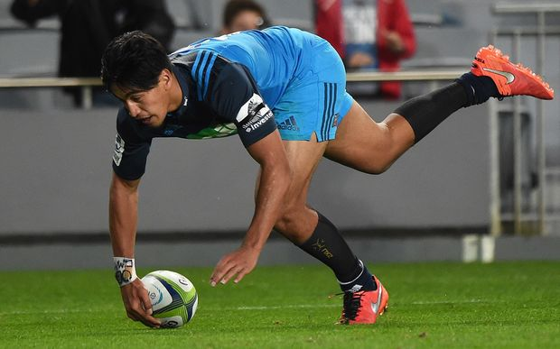 Blues winger Rieko Ioane scores a try