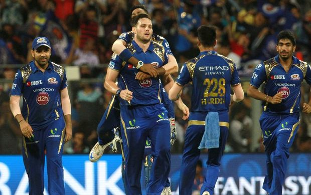 Mitchell McClenaghan and the Mumbai Indians celebrate another wicket but it wasn't enough to steer them to victory.
