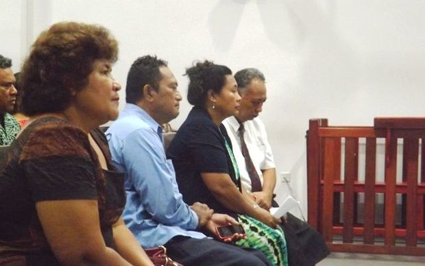 MP, Aliimalemanu Alofa tu'uau (L) and and former MP, Lafaitele Patrick Leiataualesa, (far R) with supporters in court.