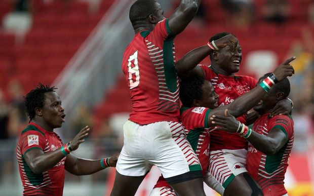 Kenya celebrate winning the Singapore Sevens title.