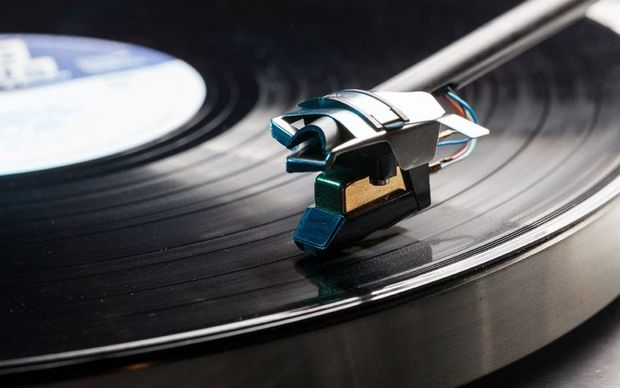 Vinyl record on player