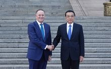 John Key meeting Premier Li Keqiang at the Great Hall of China in Beijing.