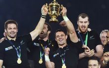 Richie McCaw and Dan Carter with the Webb Ellis Cup after winning the Rugby World Cup Final, London, England. Saturday 31 October 2015.