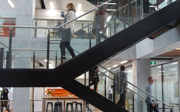 Central stairwell connecting open plan offices. Christchurch council taking possession of its new $51 million building.