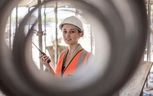 Woman building worker (stock shot)
