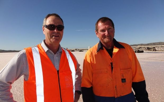 Lake Grassmere site manager Euan McLeish (left) and harvest foreman Mike Tautari