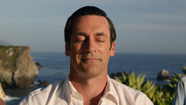 The closing shot from AMC's Mad Men featuring Don Draper finally finding his bliss.