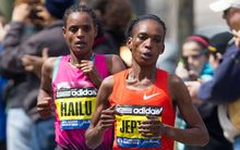 Kenyan marathon runner Rita Jeptoo in the 2013 Boston Marathon, from which she was subsequently disqualified.