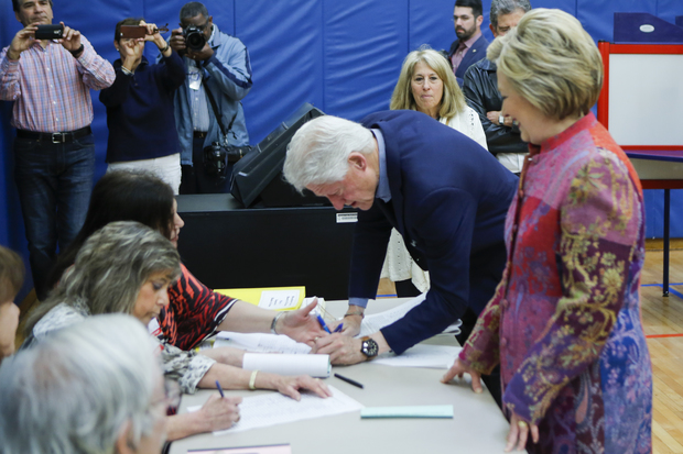 Democratic presidential candidate Hillary Clinton and husband Bill Clinton voting in Chappaqua, New York.