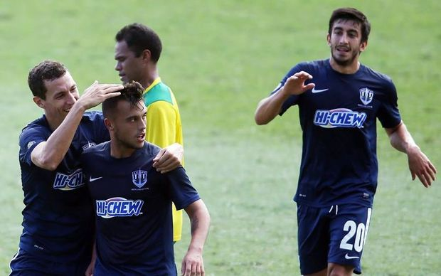 Clayton Lewis scored twice in Auckland City's semi final win against AS Tefana.